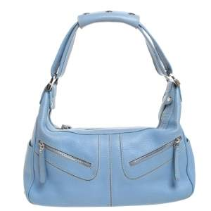 Tod's Blue Leather Medium Micky Hobos