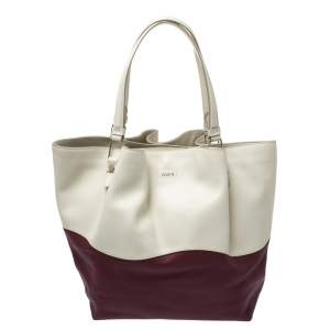 Tod's Cream/Burgundy Leather Medium Flower Tote