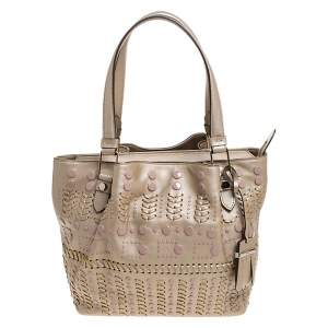Tod's Metallic Gold Leather Small Studded Flower Tote