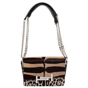 Tod's Brown/Beige Leopard Print Calf Hair Mini Double T Shoulder Bag