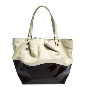 Tod's White/Brown Patent Leather and Leather Medium Shopper Tote