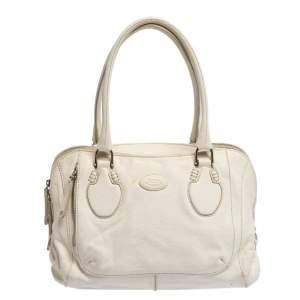 حقيبة تودز جلد أبيض بسحاب مزدوج