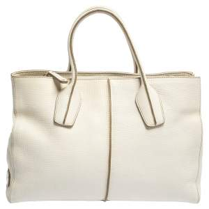 Tod's Off White Leather D-Styling Piccolo Tote