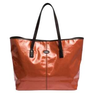 Tod's Orange Coated Canvas and Leather Toujours Shopper Tote
