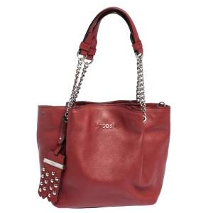 Tod's Red Leather Mini Flower Chain Tote