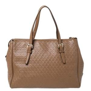 Tod's Brown Signature Embossed Leather Zip Satchel