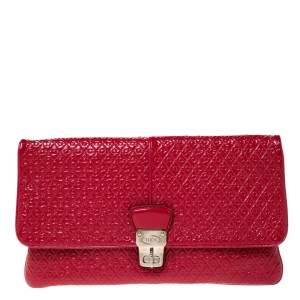 Tod's Red Signature Embossed Patent Leather Turnlock Clutch
