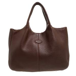 Tod's Brown Leather Media Shopper Tote