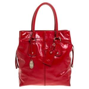 Tod's Red Patent Leather Drawstring Tote