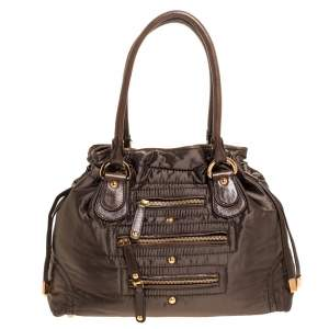 Tod's Olive Green Nylon and Leather Drawstring Satchel