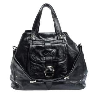 Tod's Black Glazed Leather Buckle Pocket Shoulder Bag