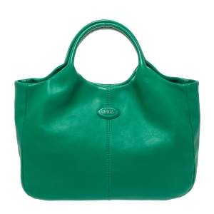 Tod's Green Leather Beveled Tote