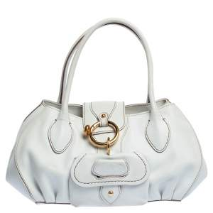 Tod's White Leather Front Pocket Satchel