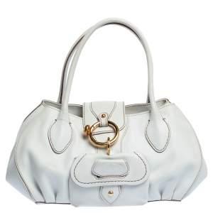 حقيبة تودز ساتشيل جيب أمامي جلد أبيض