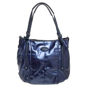 Tod's Metallic Blue Glazed Coated Canvas and Leather G-Line Easy Sacca Tote