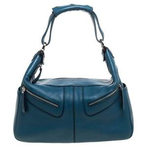 Tod's Cerulean Blue Leather Miky Hobo