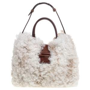 Tod's White Fur and Leather Double T Flap Tote