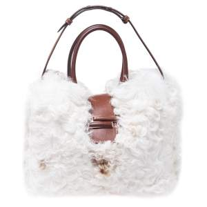 Tod's White/Brown Shearling and Leather Medium Double T Tote