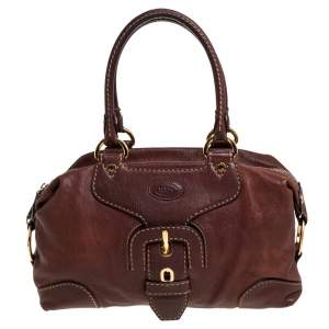 Tod's Brown Leather Buckle Satchel