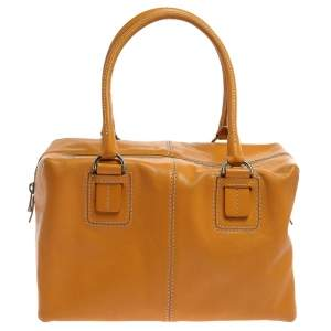 Tod's Mustard Leather Dado Box Satchel