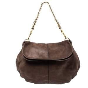 Tod's Dark Brown Shimmer Nubuck Leather Flap Chain Hobo