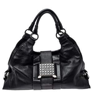 Tod's Black Leather Studded Lock Flap Shoulder Bag