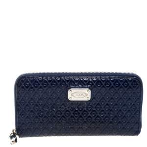 Tod's Navy Blue Signature Patent Leather Zip Around Wallet