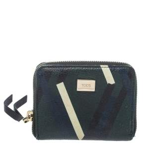 Tod's Green/Blue Leather Zip Around Compact Wallet