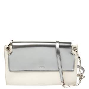 Tod's White/Silver Leather Flap Chain Clutch
