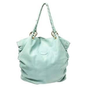 Tod's Green Pleated Leather Tote