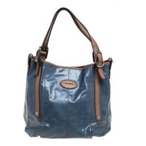 Tod's Blue/Beige Glazed Coated Canvas G-Line Easy Sacca Tote