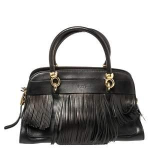Tod's Black Leather Sella Fringe Satchel
