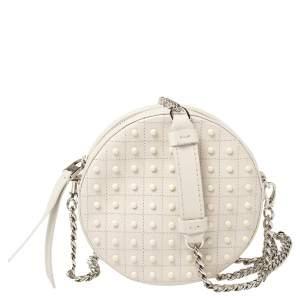 Tod's White Leather Round Gommini Crossbody Bag