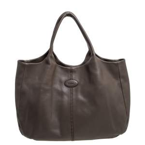 Tod's Grey Leather Forma Tote Bag