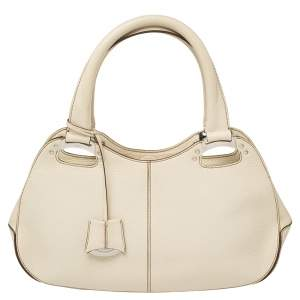 Tod's Cream Leather Top Handle Satchel