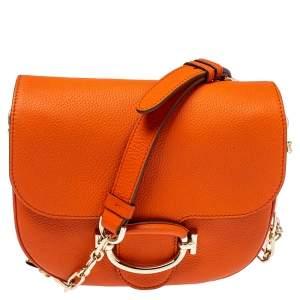 Tod's Orange Leather TT Ring Flap Crossbody Bag
