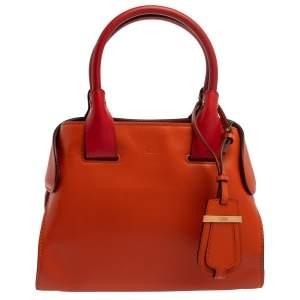 Tod's Orange/Red Leather Mini Cape Tote