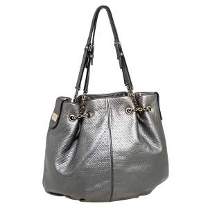 Tod's Metallic Grey Embossed Leather Drawstring Chain Tote
