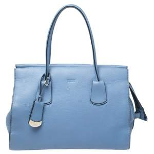 Tod's Blue Grain Leather Tote