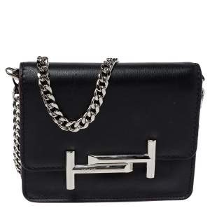 Tod's Black Leather Double T Chain Shoulder Bag