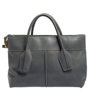 Tod's Stone Blue Leather Top Zip Tote