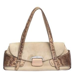 Tod's Beige Suede And Snakeskin Leather Baguette