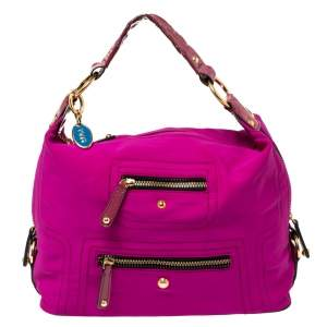 Tod's Purple Neoprene Fabric Multiple Pocket Hobo