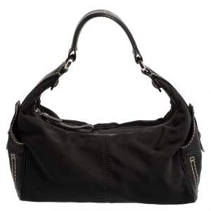 Tod's Black Nylon and Leather Zip Shoulder Bag