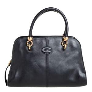 Tod's Black Nubuck and Leather Zip Satchel