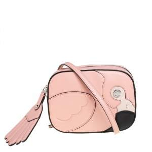 Tod's Pink Leather Flamingo Camera Crossbody Bag