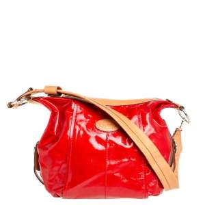 Tod's Red/Beige Coated Canvas and Leather G Line Easy Shoulder Bag