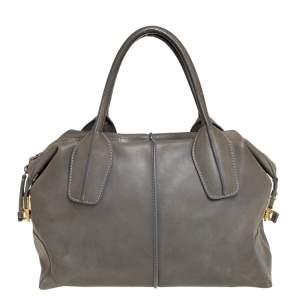 Tod's Olive Green Leather D-Styling Shopper Tote