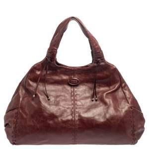 Tod's Burgundy Leather Hobo