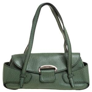 Tod's Green Textured Leather Baguette